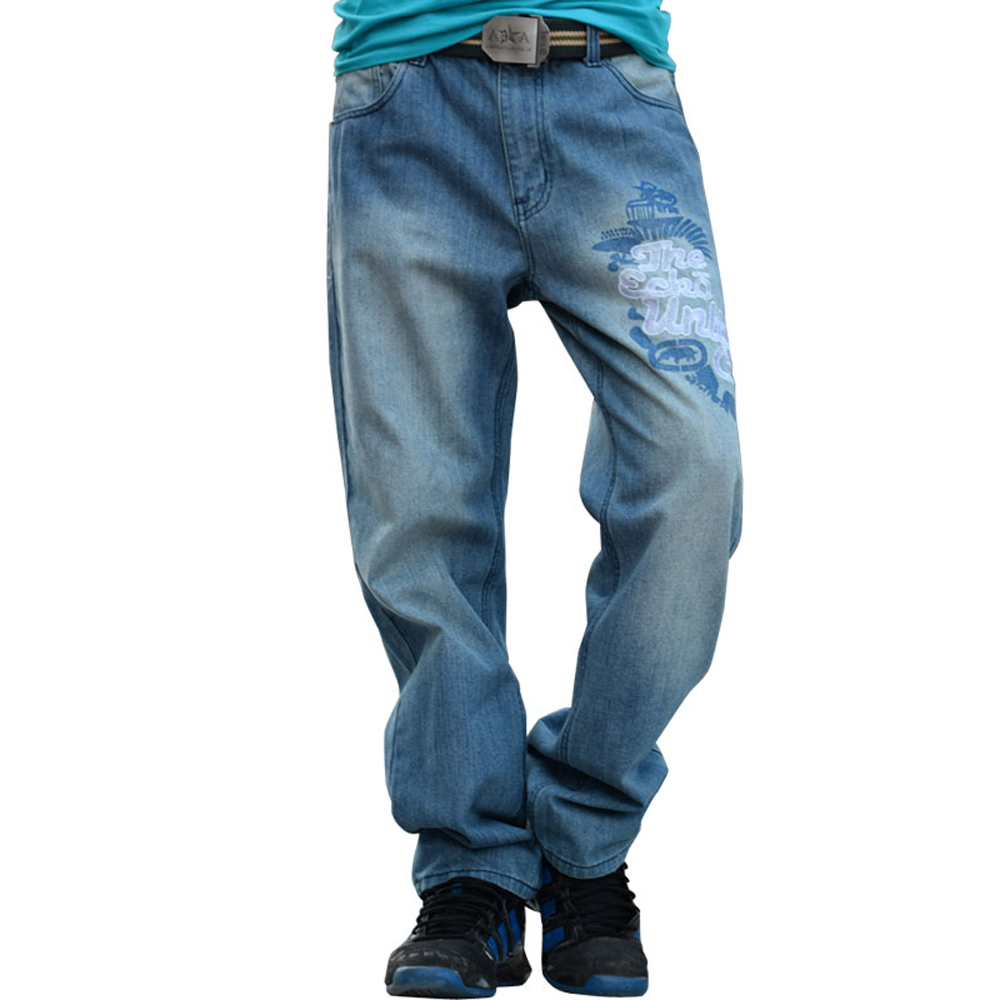 2017 Fashion Jeans Men Embroidery Designer Baggy Hip Hop Mens Overalls Jeans Famous Brand Straight Denim male Pants Trousers 09 famous brand mens jeans straight ripped biker jeans for men zipper denim overalls men fashion designer pants blue jeans homme