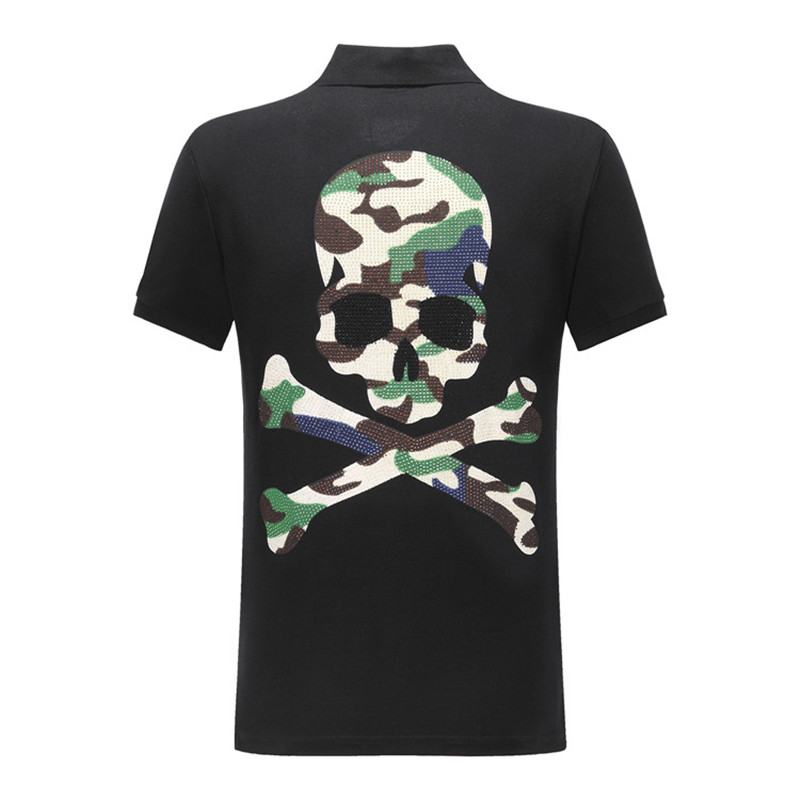 New Hip Hop   Polo   Shirt Men   Polos   Shirts Embroidery Skull Diamond Print Camouflage Tops High Quality Solid Cotton Casual Lapel