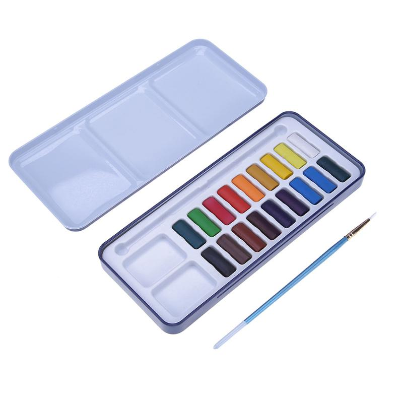 18Color/set Metal Box Solid Watercolor Paint Pigment with Brush DIY Art Supplies School Stationery Painting Drawing Tools Kit mungyo stationery set 12 24 48 color art solid watercolor painting pigment write iron box packaging