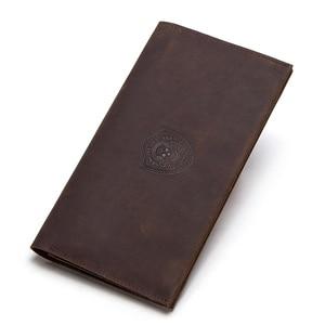 Image 2 - İletİşİm çılgın at hakiki deri erkek uzun cüzdan için cep telefonu vintage çile debriyaj cüzdan erkek kart sahipleri ince çanta
