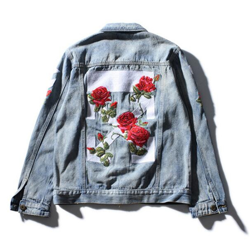 e48edcad42b8 2017 NEW men off white denim jacket fashion jeans coat high quality flower  sewed outwear jacket and coat