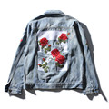 2017 NEW men off white denim jacket fashion jeans coat high quality flower sewed outwear jacket and coat