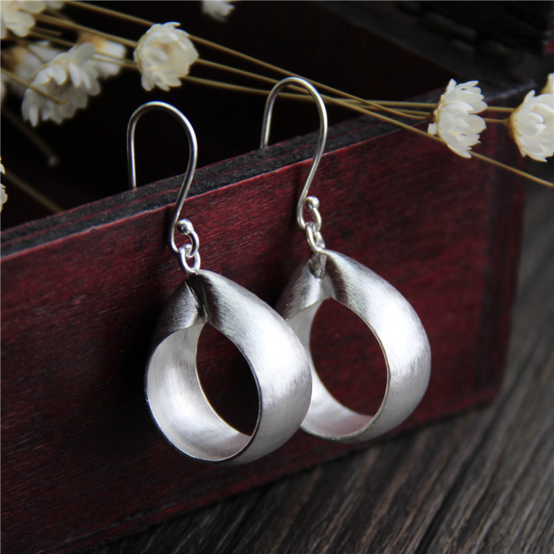 C&R Real 925 Sterling Silver Earrings for Women Polishing Round Cycle Thai Silver Drop Earrings Handmade Fine Jewelry