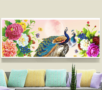 5D DIY Diamond Painting Peacock Cross Stitch Peacock Needlework Diamond Embroidery Pattern Hobbies And Crafts Home