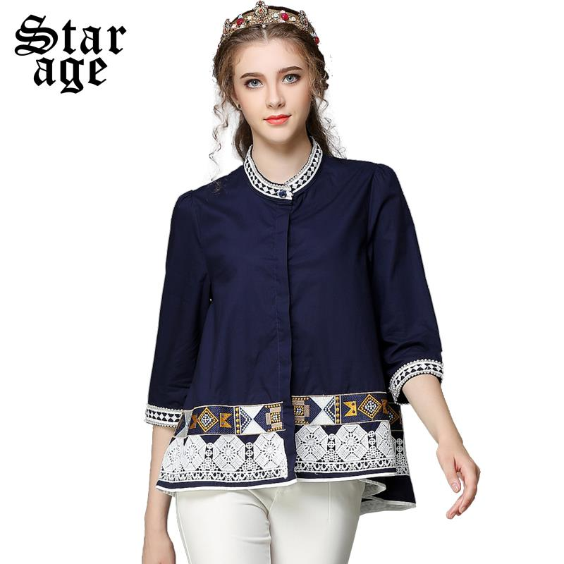 e851a3f2c2cf1 S-5XL Ethnic Pearl Beaded Loose Cotton Blouse Shirts Ladies Big Size Stand  Collar Half Sleeve Tops Plus Size Women Clothing Y857