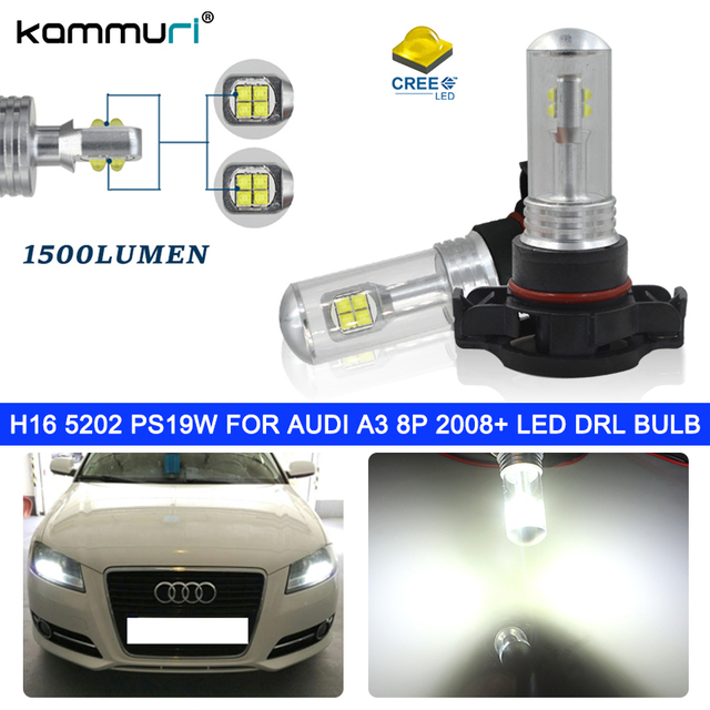 US $17 2 14% OFF|H16 5202 PS19W LED Bulbs for AUDI A3 8P 2008+ DRL BULB No  error Whit 6000K 2pcs-in Signal Lamp from Automobiles & Motorcycles on