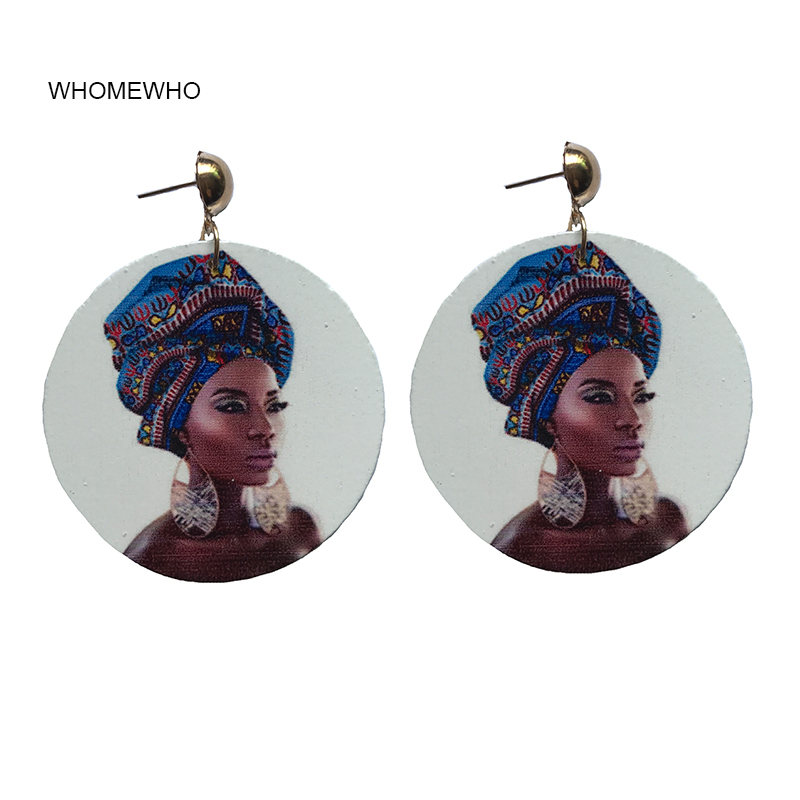 60cm Wood Native African Beauty Black Queen Rock Africa Earrings Women Vintage Party Afro Jewelry Retro Wooden DIY Accessory