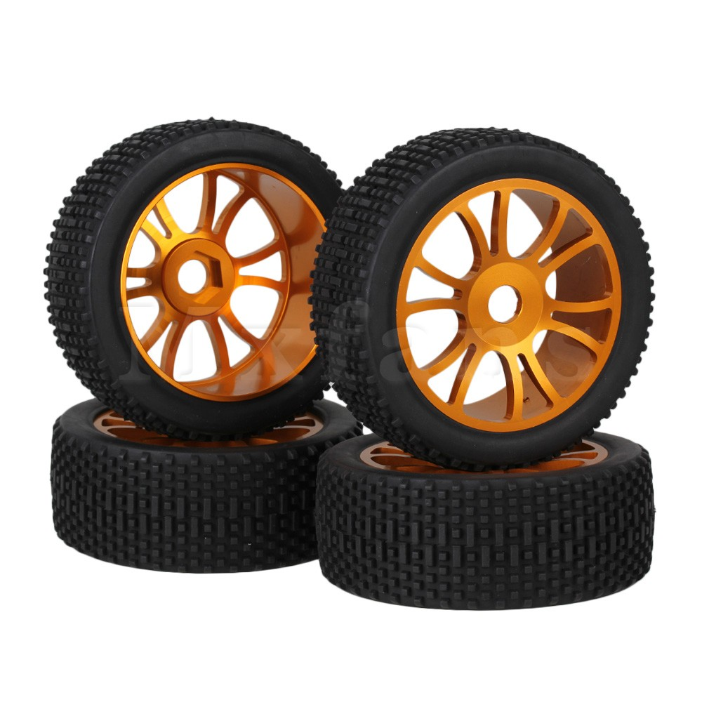 ФОТО Mxfans 4 x RC1:8 Off Road Car 12-Spoke Alloy Wheel Rim+Square Pattern Rubber Tyre
