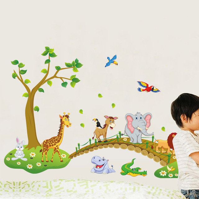 3D Cartoon Wall Sticker Showing Jungle and Wild Animals for Children Rooms and Schools