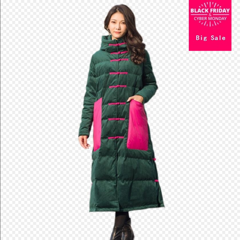 Winter velvet fabric retro single breasted duck   down     coat   female hit color pockets design thicker longer warm   down     coats   wq520