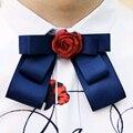 2016 Marca de Moda Designer de Flor Vermelha Azul Royal Arco dos homens Magros pescoço Bowties Tie Auto Meninos Sólidos Laços Para Homens casamento