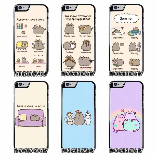 buy popular 0b2e0 81641 US $4.99 |Pusheen Cat Cover Case For Iphone 4 4s 5 5c 5s se 6 6s 7 8 plus x  xiaomi redmi note oneplus 3 3T 4X 3s-in Half-wrapped Case from Cellphones  ...
