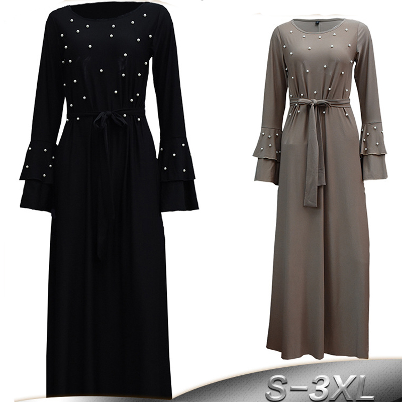 Arabic Vestidos 2019 Abaya Dubai Muslim Kaftan Turkey Women Beading Maxi Hijab Dress Caftan Elbise Robe Turkish Islamic Clothing