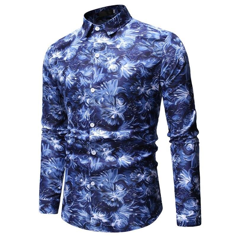 UUYUK Men Long Sleeve Turn Down Collar Embroidery Regular Fit Button Down Shirts