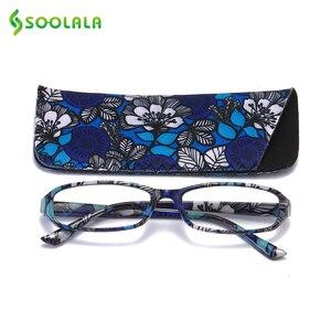Image 2 - SOOLALA lunettes de lecture rectangulaires, imprimées, pour femmes, 4 pièces, avec pochette assortie + 1.0 1.5 1.75 2.25 à 4.0