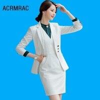 Women suits Slim Long sleeve stripe jacket dress 2 piece set OL Formal Women dresses suits Woman set suits 871