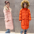 2016 НОВЫЕ девушки пуховики высокое качество зима сгущает верхняя одежда куртка длинные дети с капюшоном меховой воротник теплая одежда над пальто