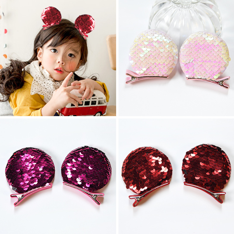 Fashion Baby Girls Birthday Party Hair Accessories Sequins Mickey Ears Barrettes Glitter BB Clip Kids Children Hair Clips 12pcs hair accessories mickey minnie mouse ears solid black sequins headbands headwear for boy girl birthday party celebration