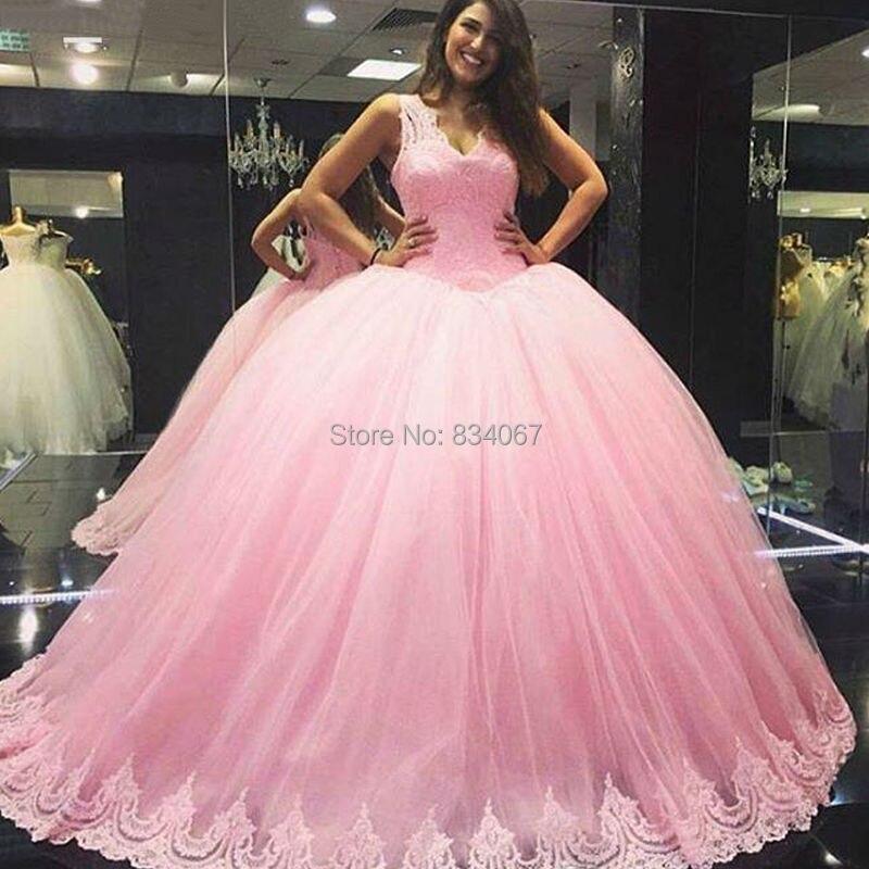 7eef7fc13 Dulce vestido de Bola Vestidos de Quinceañera 2017 vestido 15 anos Rosa de  Encaje de Tul con cuello en V Barato Vestido de Debutante Vestidos de  Quinceañera ...