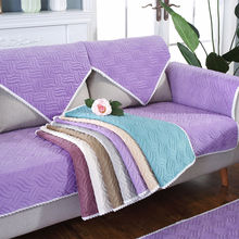 Soft Plush L-Shaped Stretch Sofa Cover Modern Sectional Slipcover Anti-skid Solid Seat Couch Towel 1PCS
