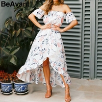 BeAvant Sexy Cold Shoulder Bohemian Maxi Dress Summer Beach Ruffle Floral Long Dress Femme Casual High