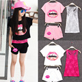 New 2016  Girls Summer Clothing Set Kids Girls European Girls 3 Pieces Sets Lace Tank Top & T-shirt & Shorts Summer Style