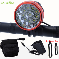 Walkefire Lanterna Bicicleta Lâmpada Recarregável À Prova D' Água Ciclismo Frente Luz 10x XML U2 LED Da Bicicleta Da Lâmpada + 18650 Bateria + carregador|cycle front light|bicycle lampbike lamp -