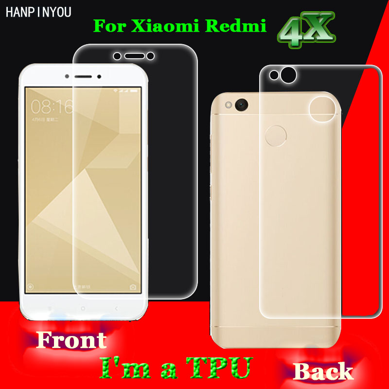 For Xiaomi Redmi 4X  4X Pro 5.0 2Pcs= Front + Back Slim Full Cover Edge to Edge Soft TPU Film Explosion-proof Screen Protector