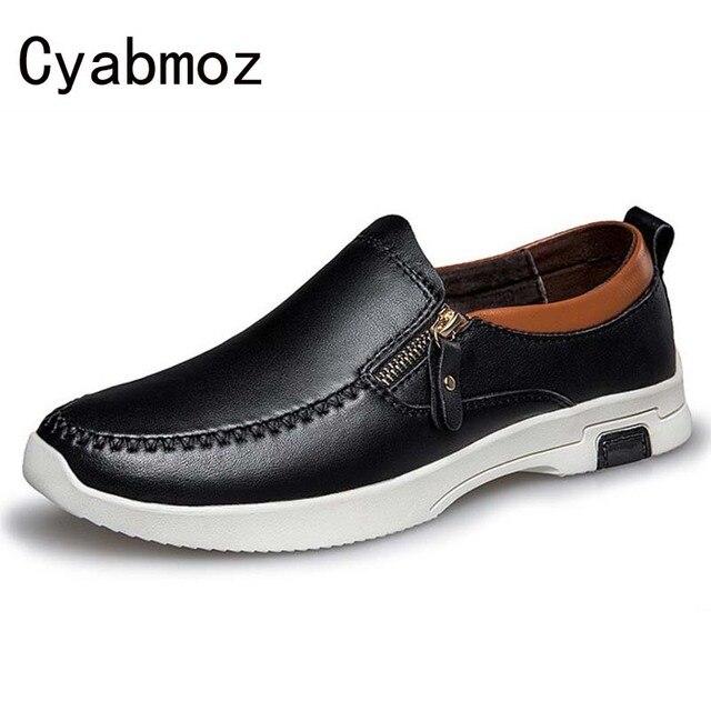 3634c085f77 2018 NIEUWE rits lederen Casual Flats mannen schoenen Ronde Neus leisure schoenen  Loafers Herfst Comfort man