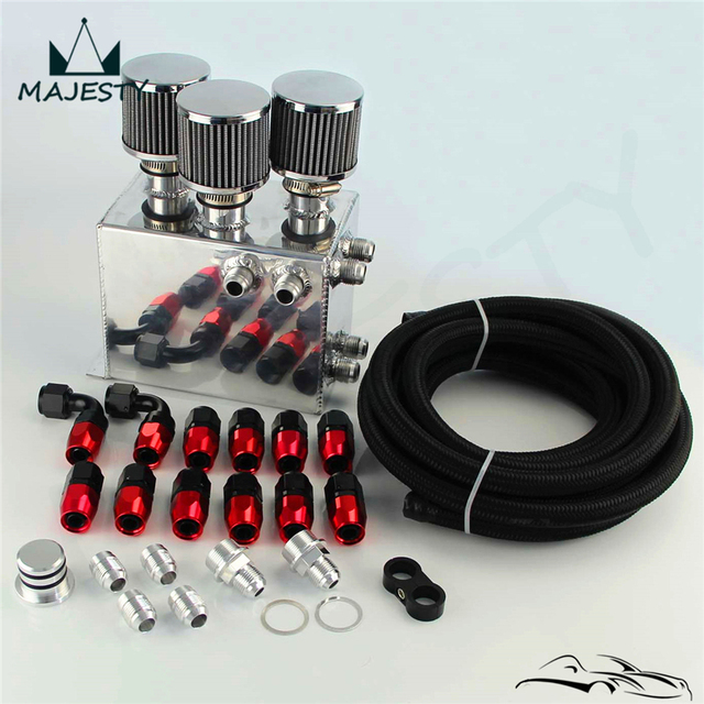 Power Driven Oil Catch Can / Breather Tank Race Kit For H