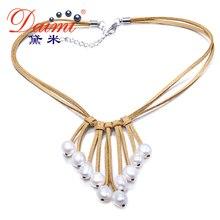Daimi 9-10mm barroco collar de perlas de color blanco y collar de las mujeres de cuero