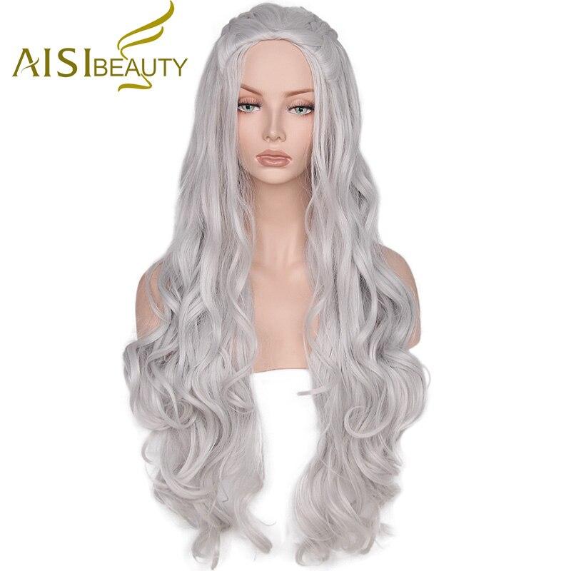 Aisi салон синтетический парик Волнистые Длинные Серый Косплэй Искусственные парики волос Игра Престолов Дейенерис Таргариен для Для женщин с высокой устойчивостью