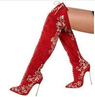 Gorgeous Red Suede Pointed Toe Metal Stiletto Heel Over The Knee Boots Lace Up Embroidery Crystal