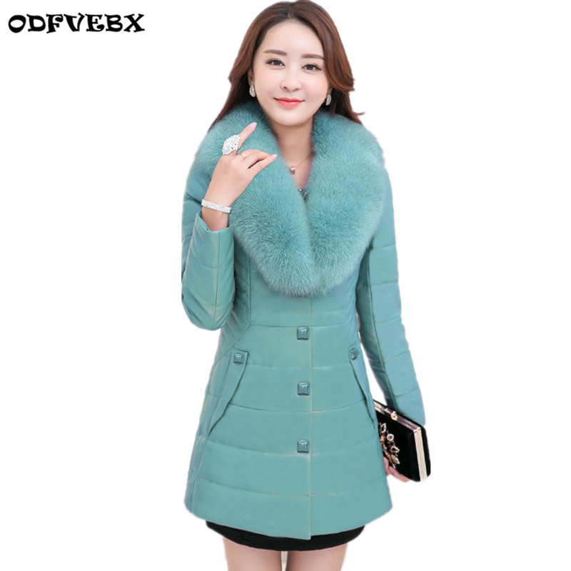 Boutique plus Size M-6XL   Leather   Jacket Female 2018Winter Medium Long Slim Fur Collar Warm Women Clothing   Leather   Jacket DOFVEBX
