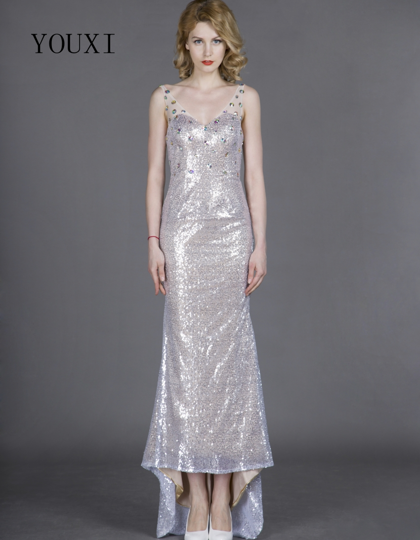Sexy V-Neck Silver Sequin   Prom     Dresses   2019 Floor Length Formal Crystal Evening Gowns PD38