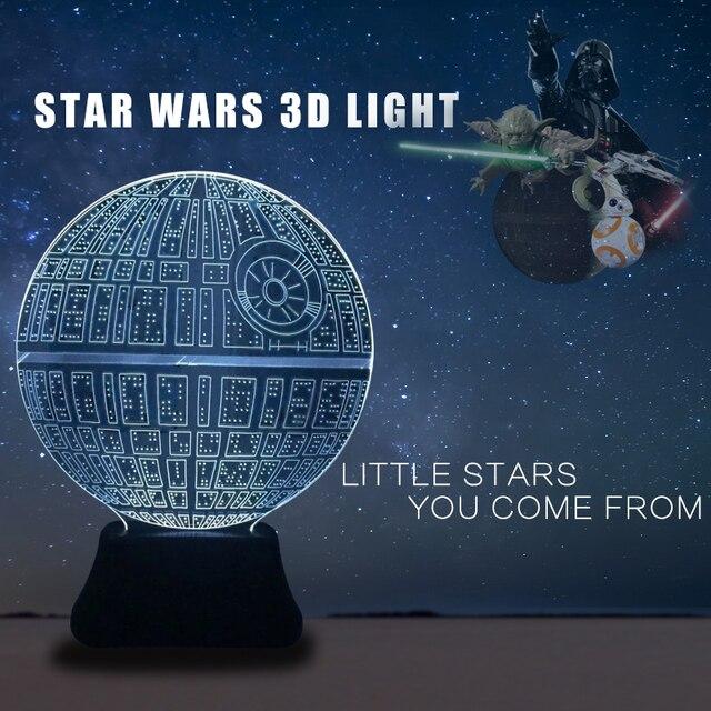 star wars 3d lampe nithg licht bb8 todesstern lampe kinder nachtlicht usb led lampe auf batterien - Star Wars Todesstern Lampe