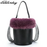 Estelle Wang Bucket Bags Cute Japan Small Tota Fur Handbags Winter Top Hand Pu Leather Shoulder