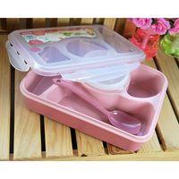 1 PC Caso Caixa De Viagem Caixa de Almoço Com Uma Colher de Plástico Caixa De Estudantes Fresco Tigela Tigela de Arroz de Microondas Utensílios de Mesa Para Cozinha acessórios