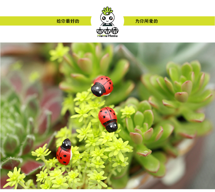 Ladybird Wooden Home Accessories Decorative Gardening Insect Crafts Micro Landscape Ornaments 20pcs China Mainland
