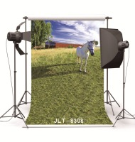 Grassland Barn Horse Vinyl Backdrops Computer Printed Photography Studio Backgrounds For Photo Shot For Children Wedding