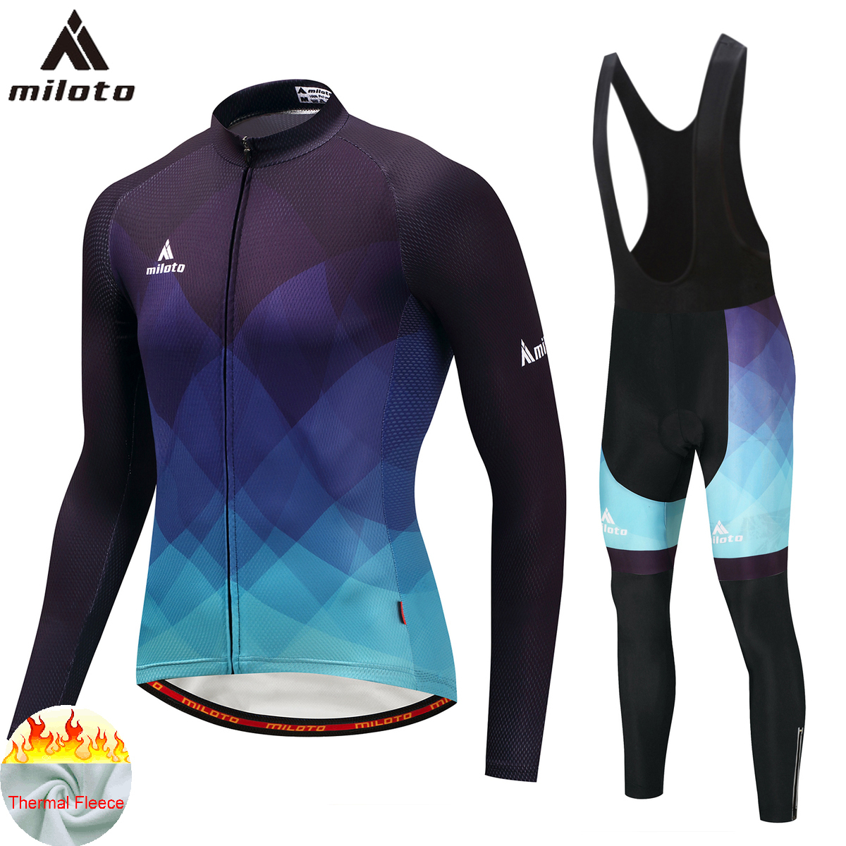 MILOTO Thermal Fleece Bicycle Uniform Cycling Man Trousers Downhill MTB Uniform Jacket Sports Suit Cycling Clothes