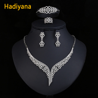 Luxury AAA Cubic Zirconia Bridal Jewelry Sets For Women New 4pcs Jewelry Set With Earrings Ring Bracelet Necklace Hadiyana CN171