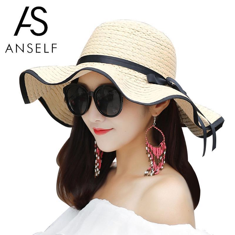 Anself Women Sun Straw Hat Bowknot Large Wide Brim Floppy Casual Summer Beach Cap Seaside Holiday Hat Boater Beach Hat Female