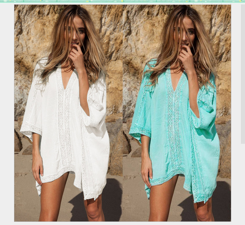 beachwear kaftan women swim suit cover ups solid robe plage half sleeve coverups dames strand. Black Bedroom Furniture Sets. Home Design Ideas