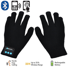 Rechargeable Wireless Bluetooth Gloves Women Men Winter Knit Warm Mittens Call Talking Touc