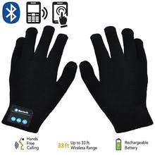 Rechargeable Wireless Bluetooth Gloves Women Men Winter Knit Warm Mittens Call Talking Touc