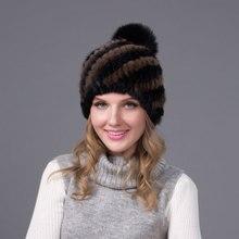 Новый 2016 Женская Мода Зима Теплая Подлинная Реального Норки Шапочки шляпа Леди Шарм Pom Pom Меха Шапка с Подкладкой Бесплатная Доставка JQ6001