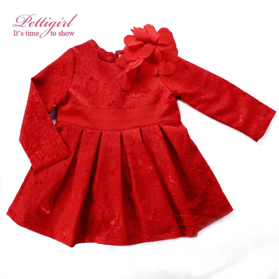 Christmas dress girls - Pettigirl 2017 Hot Wholesale Red Baby Girls Christmas Dress With Long Sleeve For Kids Girls Clothing