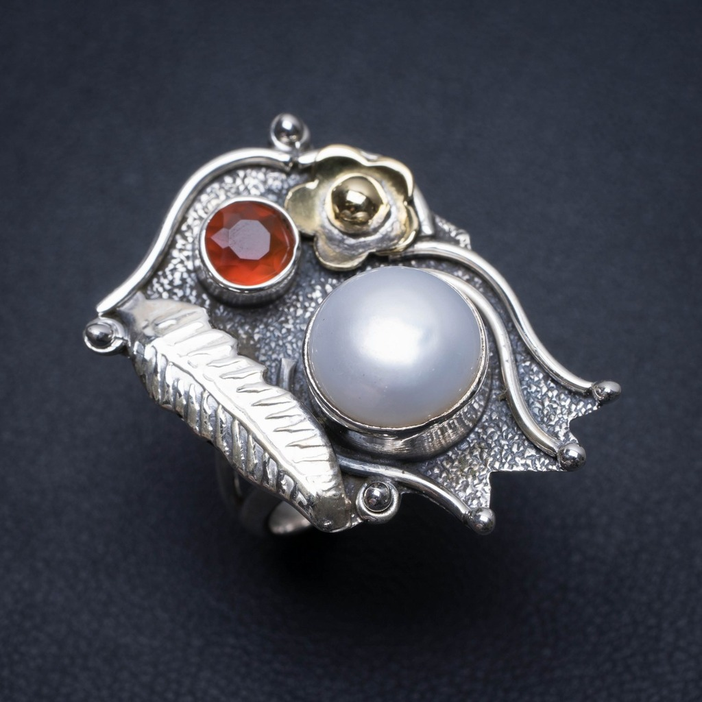 Natural Two Tones River Pearl and Garnet Mexican 925 Sterling Silver Ring, US Size 6 S2496Natural Two Tones River Pearl and Garnet Mexican 925 Sterling Silver Ring, US Size 6 S2496