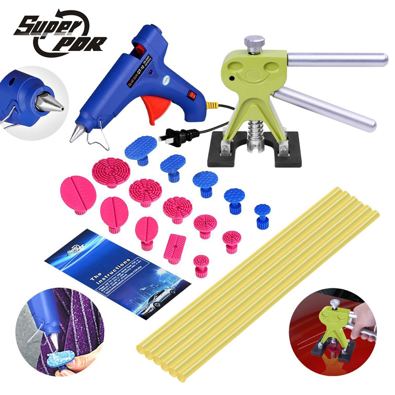 Super PDR dent removal tools dent puller glue gun glue sticks tool kit use for Car Hail Damage And Door Dings Repair pdr hail repair kit with 1 4kg pdr slide hammer hail glue puller pdr 206